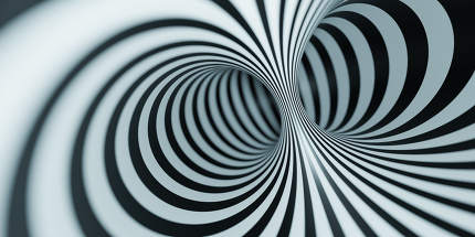 optical illusion black and white tunnel