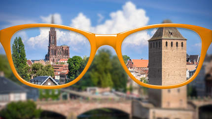 orange glasses sharp and blurred Strasbourg scenery