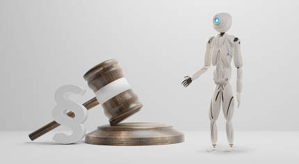 paragraph with judge gavel and artificial intelligence robot whi
