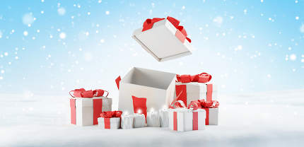 presents. gift boxes with one open box 3d-illustration