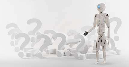 question marks and artificial intelligence robot white 3d-illust
