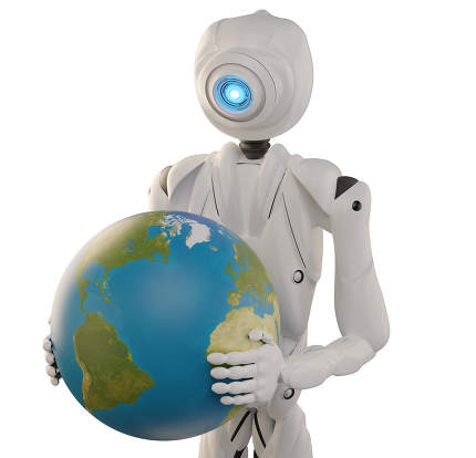 robot holding the planet earth globe 3d-illustration. elements o