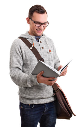 Smiling male student with a book