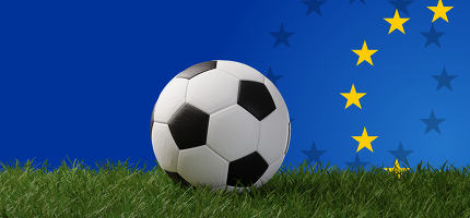 soccer ball on grass front of Europe background 3d-illustration