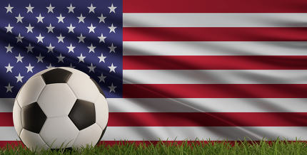 soccer ball with America USA flag 3d-illustration
