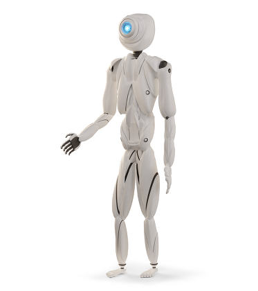 standing artificial intelligence robot white 3d-illustration