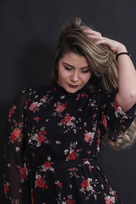 studio portrait of a beautiful model girl