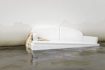 water damage white sofa