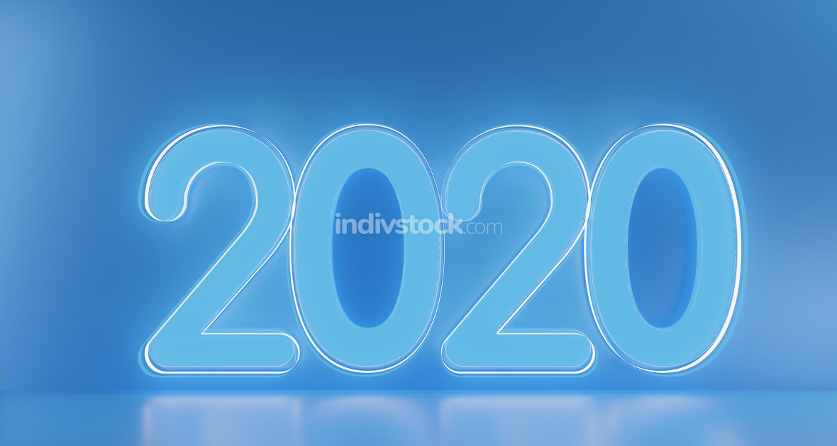 2020 blue lights bold letters 3d-illustration