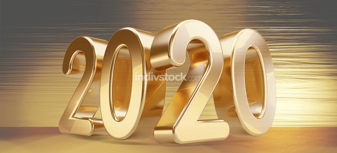 2020 bold golden letters background 3d-illustration