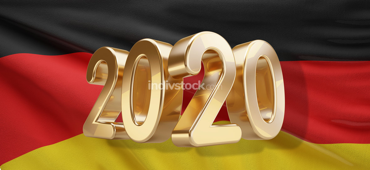 2020 bold letters and flag of Germany 3d-illustration background