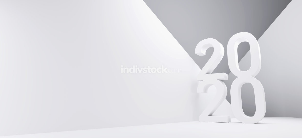 2020 bold letters creative abstract background 3d-illustration