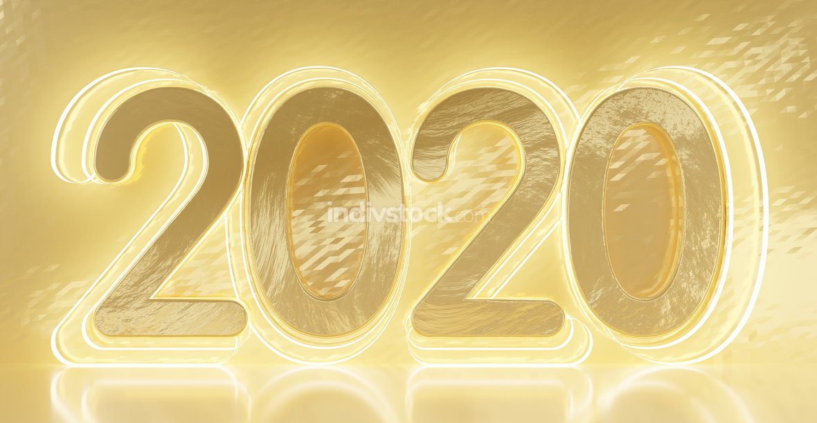 2020 bold letters golden background 3d-illustration