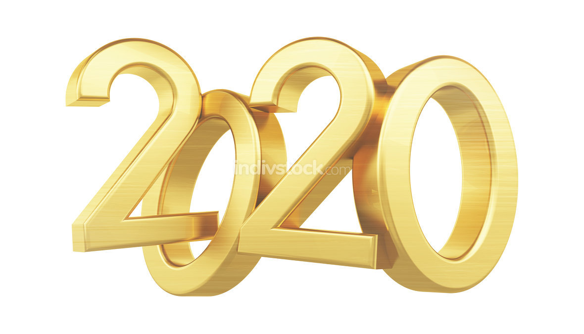 2020 golden bold letters glossy 3d-illustration