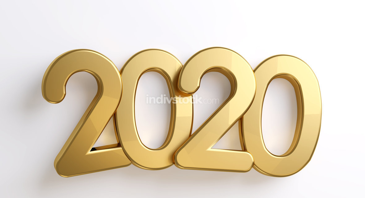 2020 golden bold letters isolated 3d-illustration