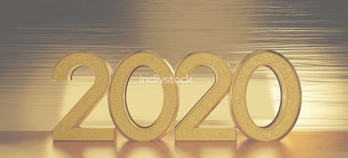 2020 golden bold letters on golden background 3d-illustration