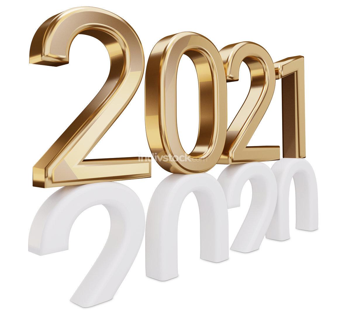 2021 golden metallic thin letters 3d-illustration