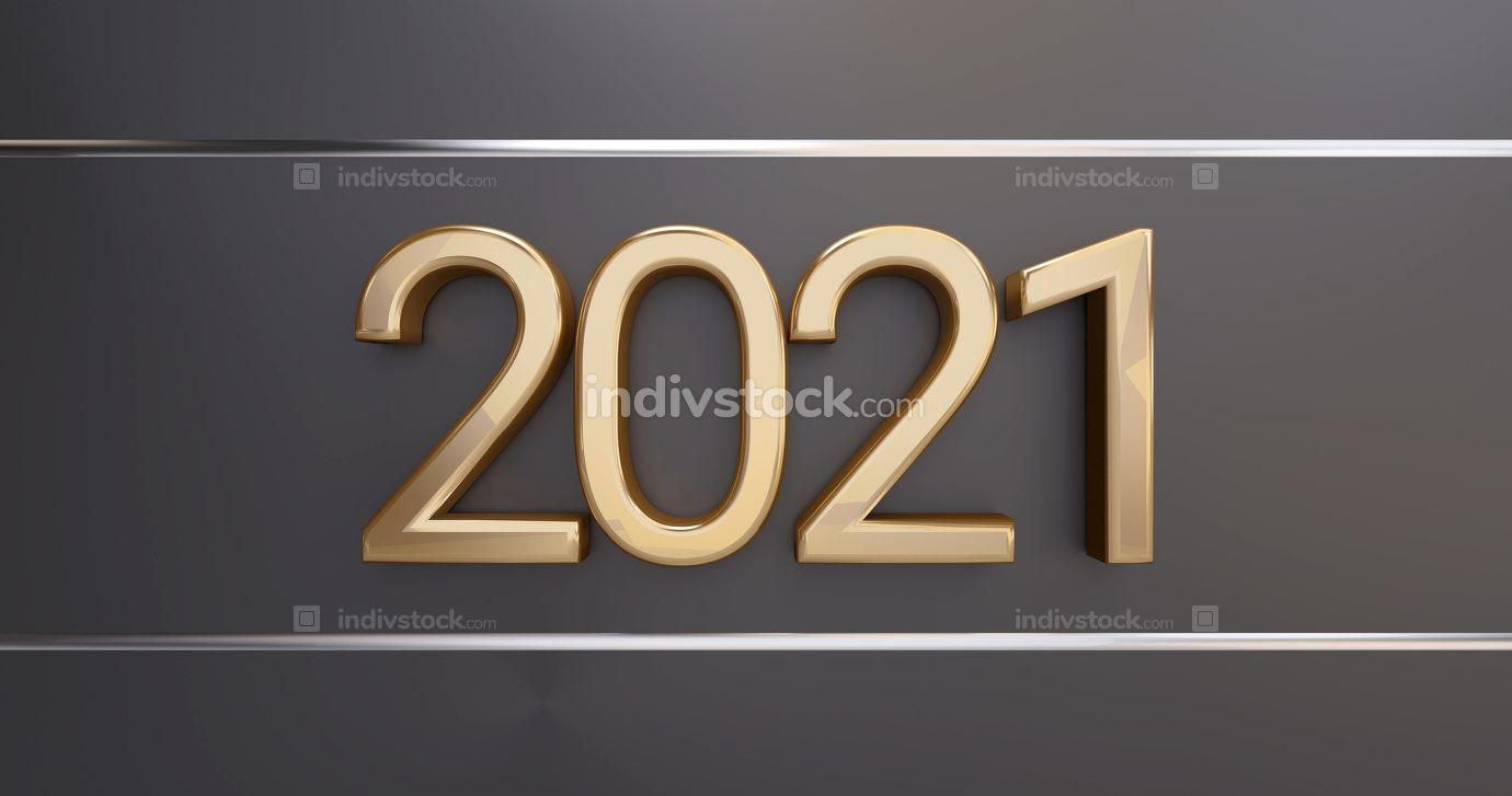 2021 golden thin letters on dark golden background 3d-illustration