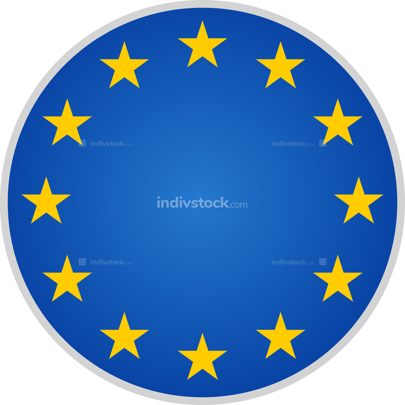 blue yellow isolated on white EU Europe symbol with 12 stars 3d-