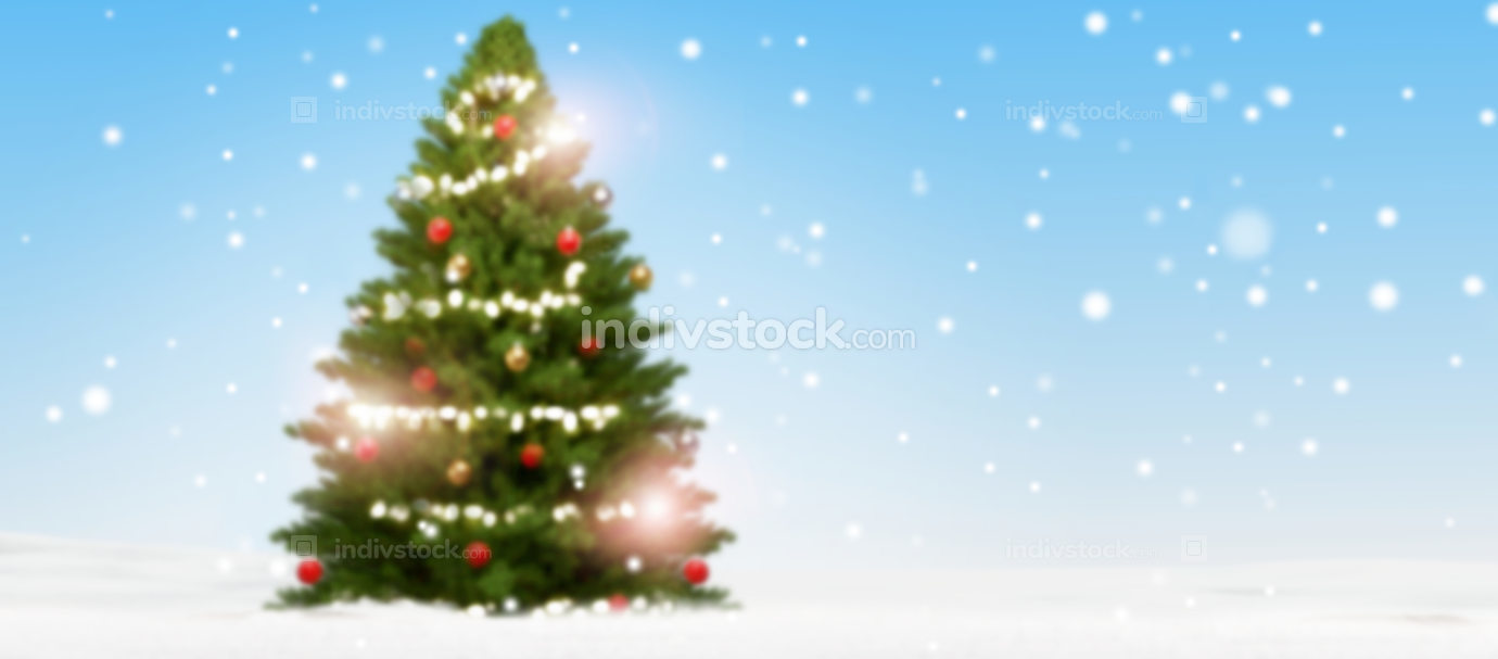 blurred christmas fir tree background with snow and snowflakes 3