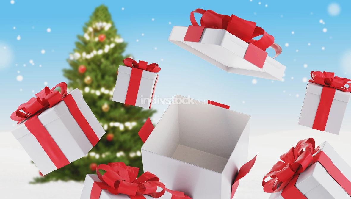 christmas presents and christmas tree 3d-illustration