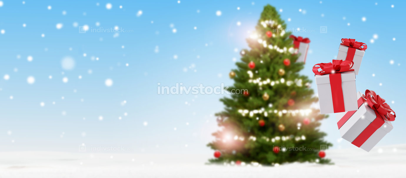 christmas presents and christmas tree blurred 3d-illustration