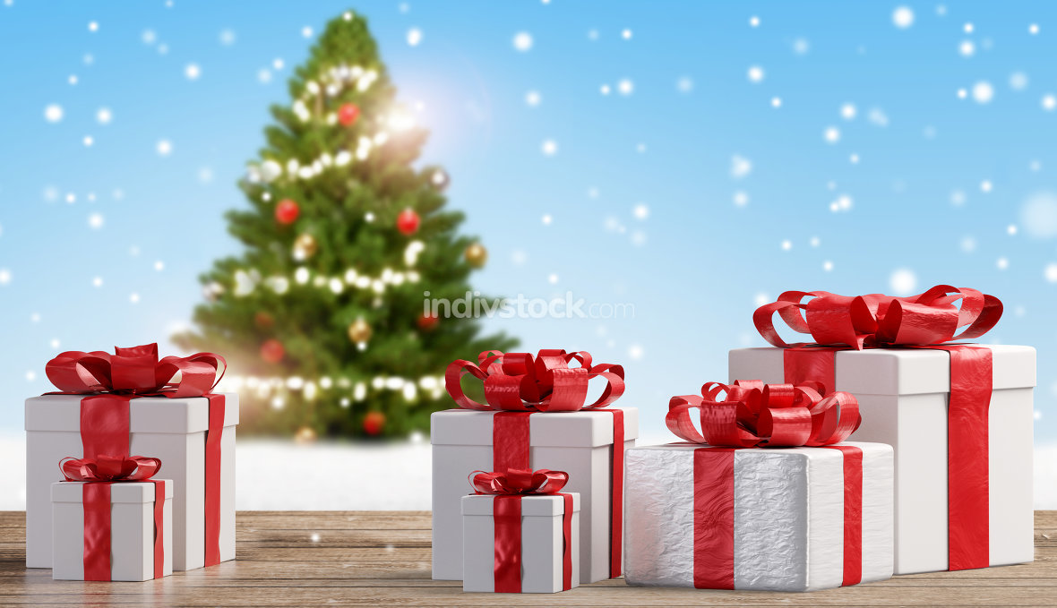 Christmas presents front of blurred tree background 3d-illustrat