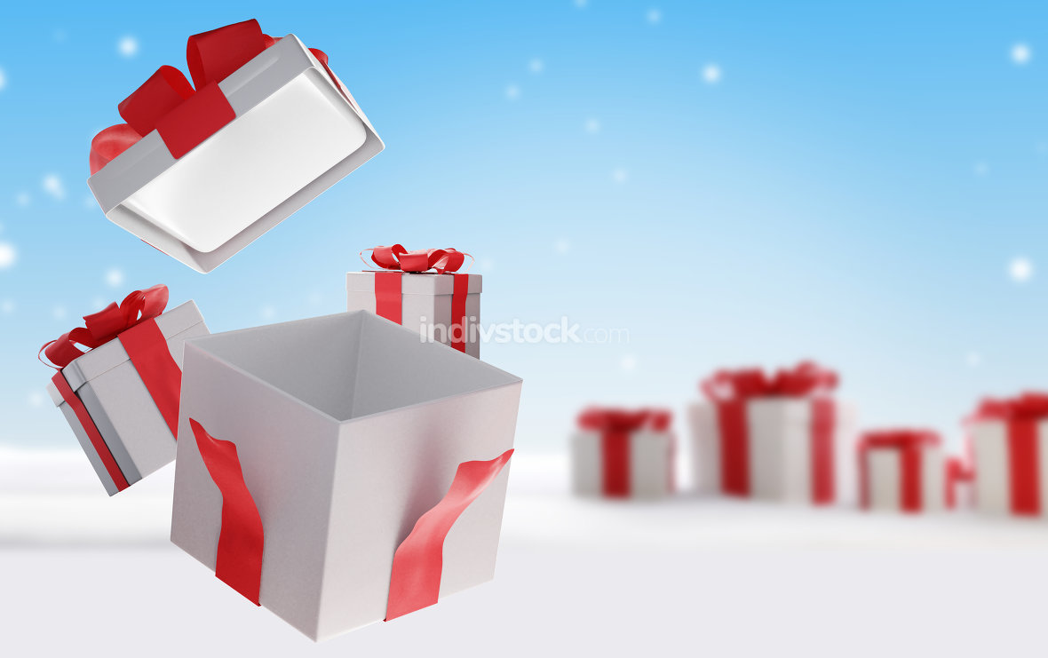 christmas presents isolated on white 3d-illustration