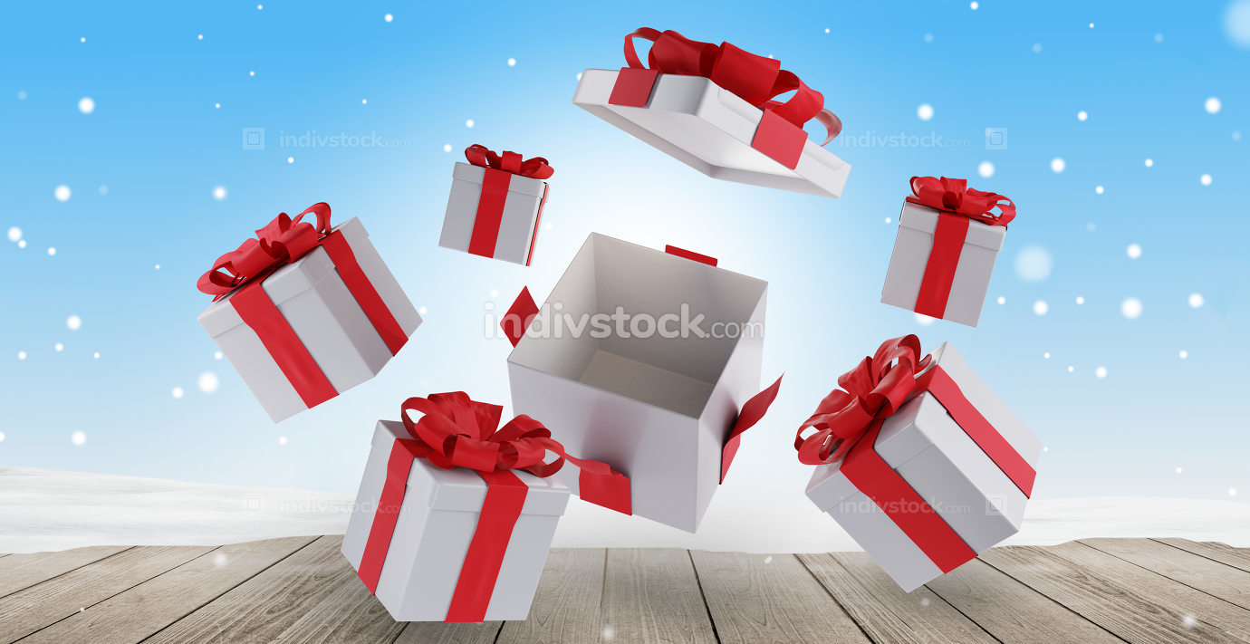 christmas presents on wooden snow background 3d-illustration
