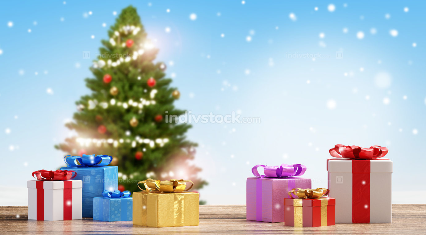 Christmas presents with decorated tree and snowflakes background