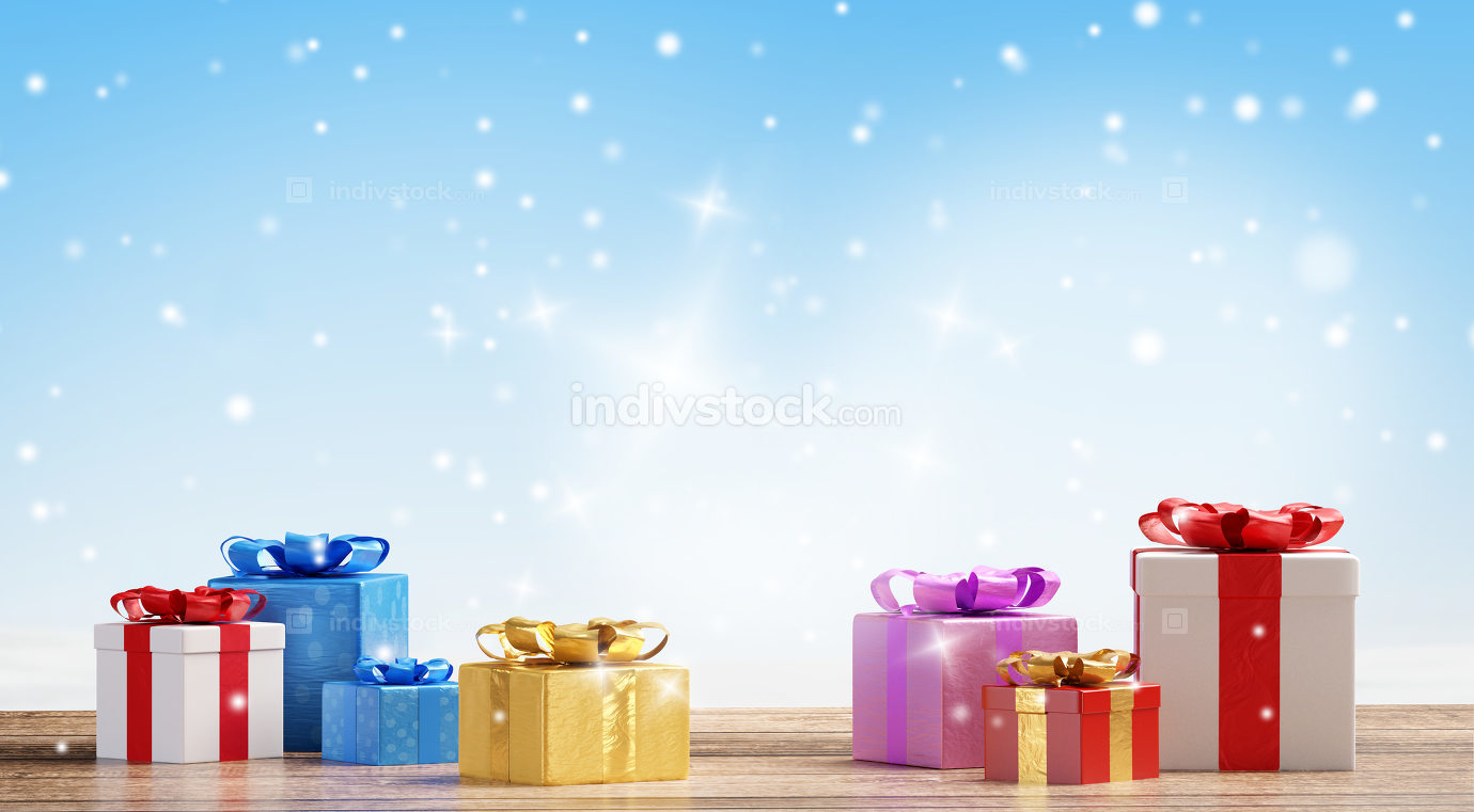 Christmas presents with snowflakes background 3d-illustration