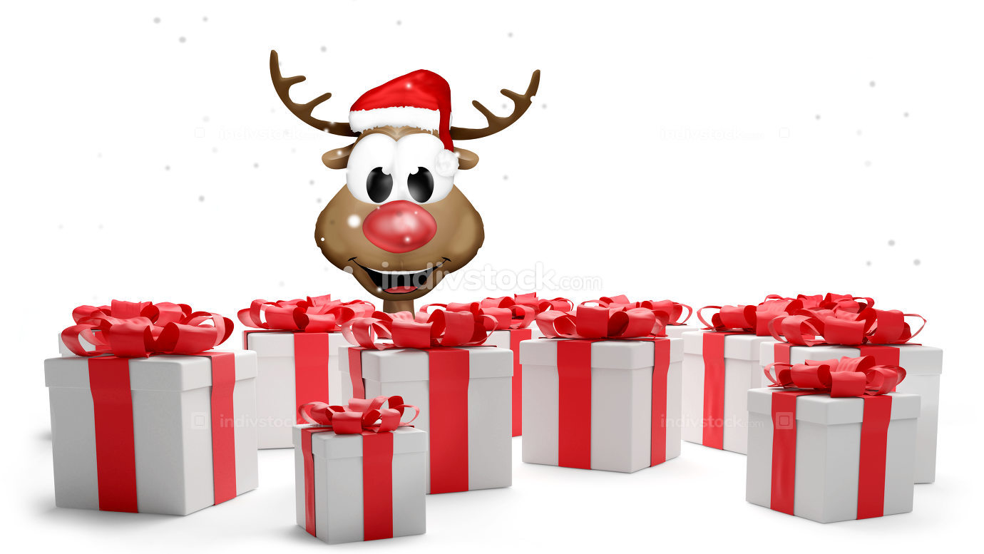 christmas red white presents 3d-illustration with cute reindeer
