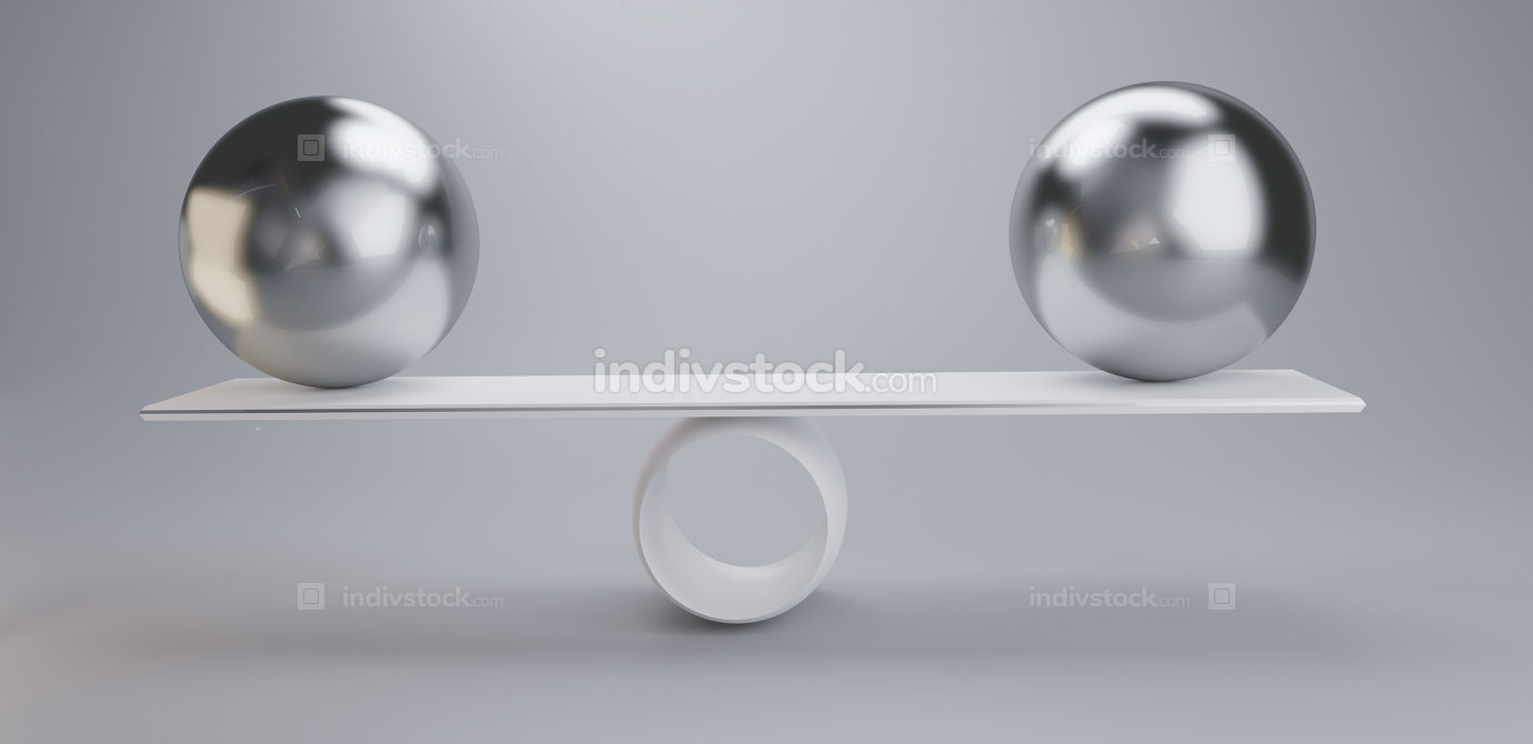 chrome balls on a scale 3d-illustration light grey white
