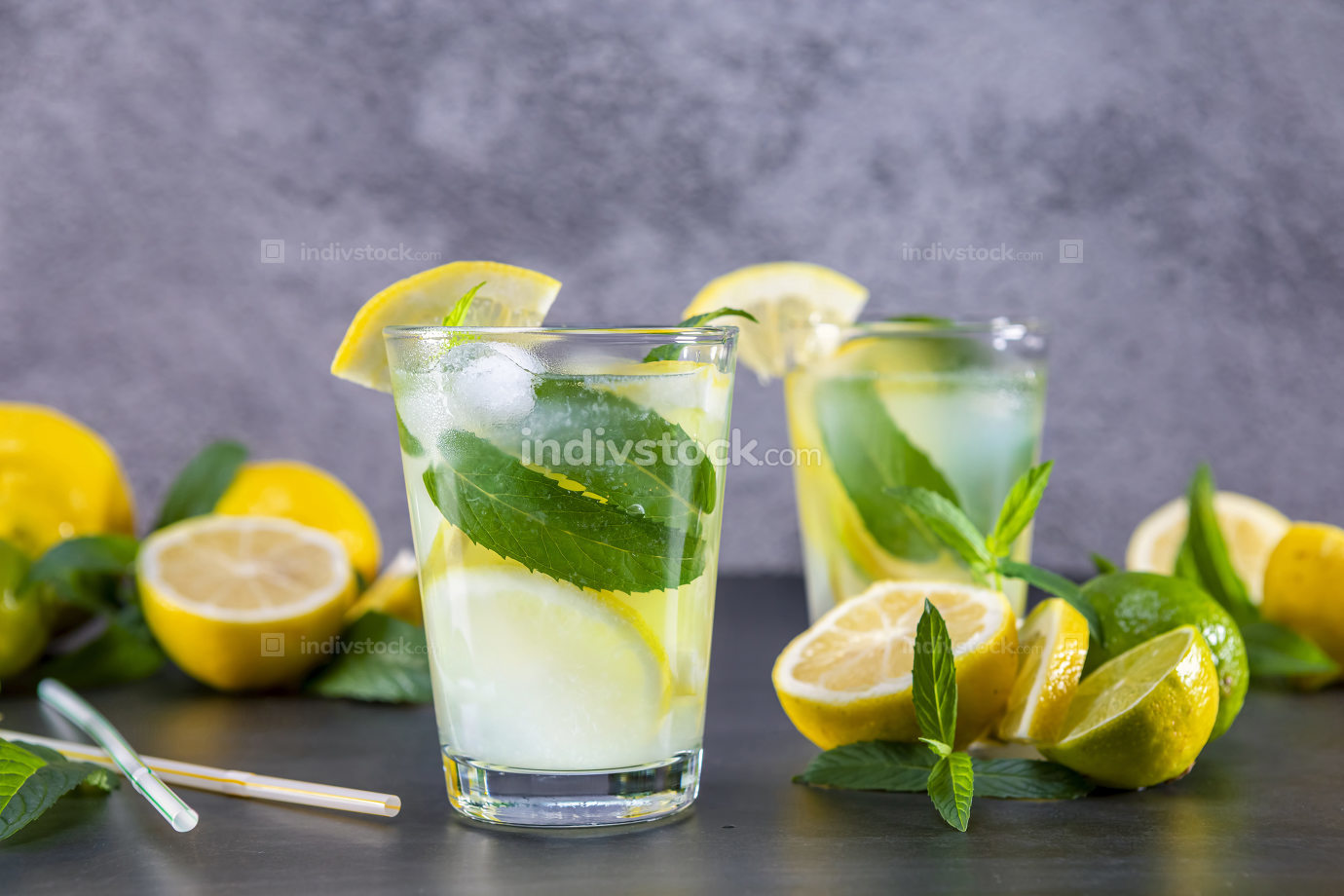 Cold refreshing summer lemonade with mint in a glass