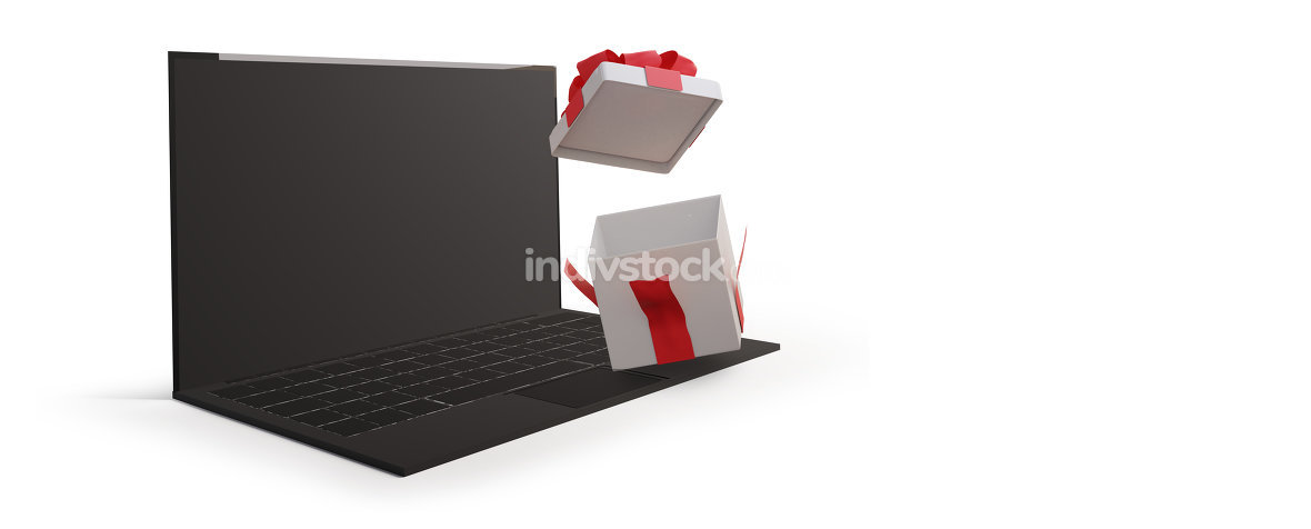 computer isolated on white background with opened surprise box 3