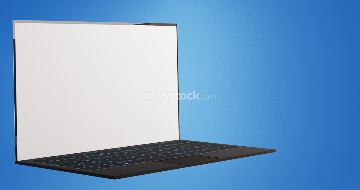 computer laptop notebook on blue background 3d-illustration