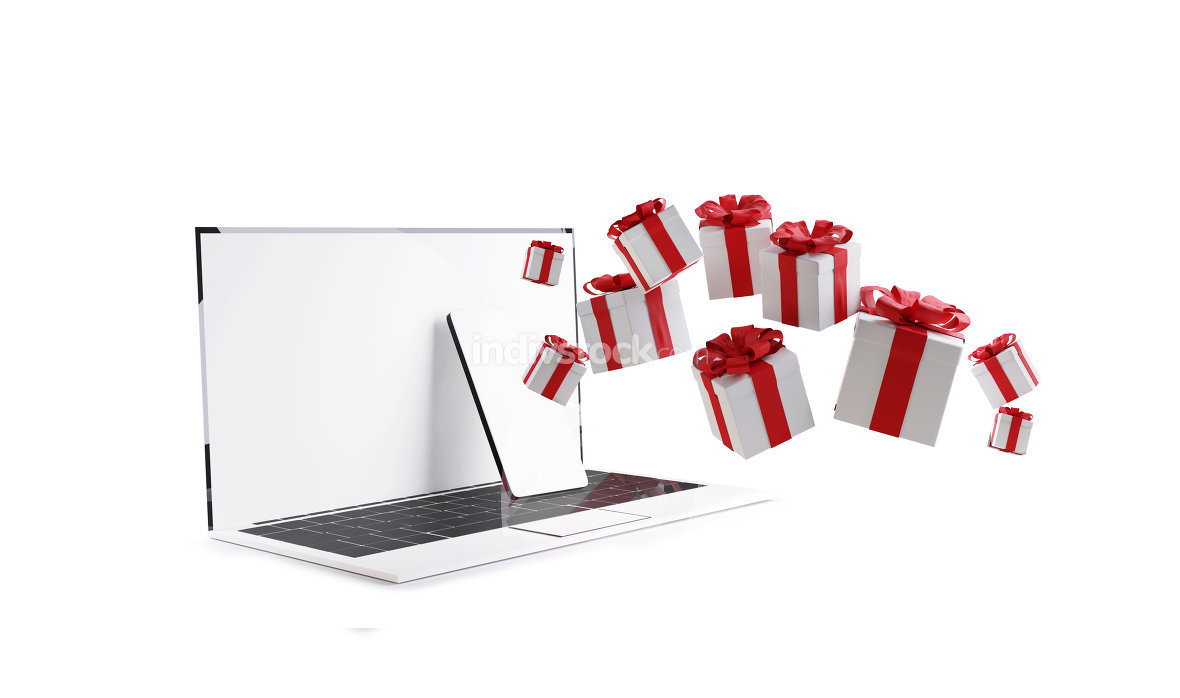 computer phone with christmas presents isolated on white 3d-illu