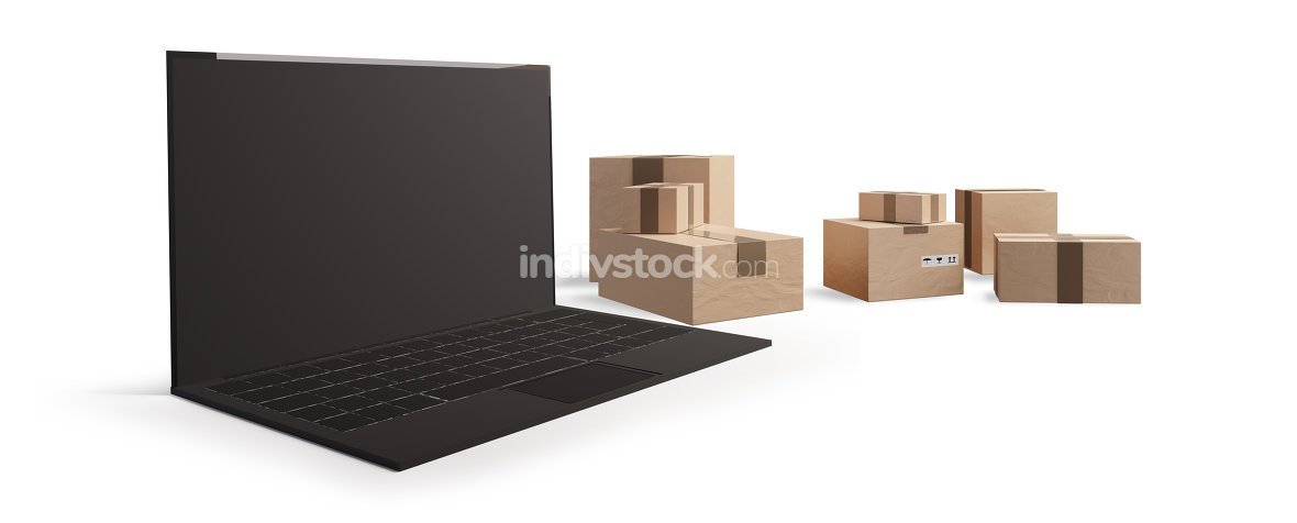 computer with postal packages isolated on white background 3d-il