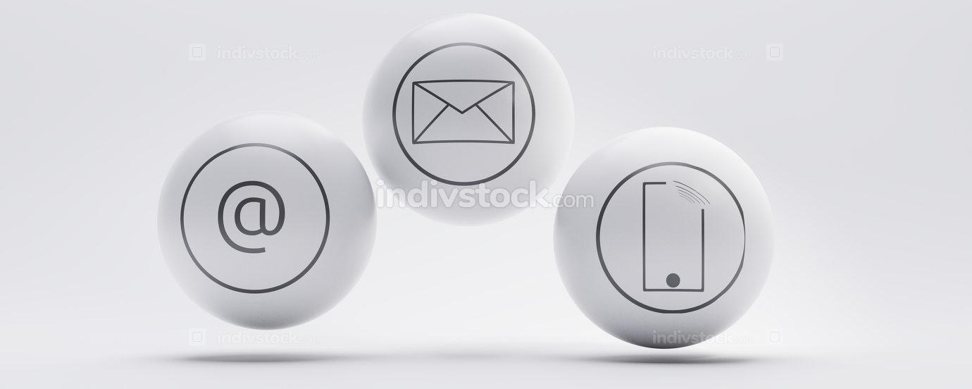 contact us contact method modern sphere symbol backdrop 3d-illus