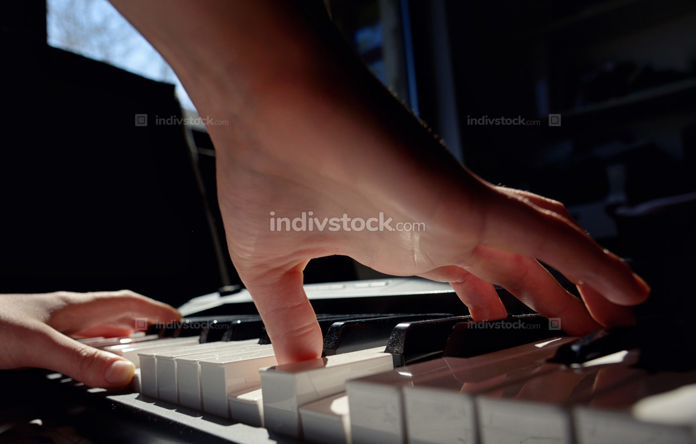 Details of Hands playing piano