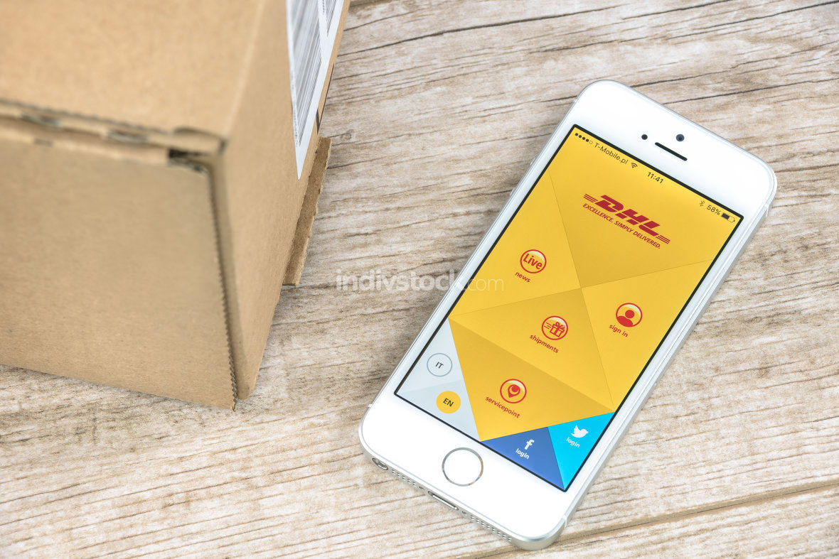 DHL app on iPhone
