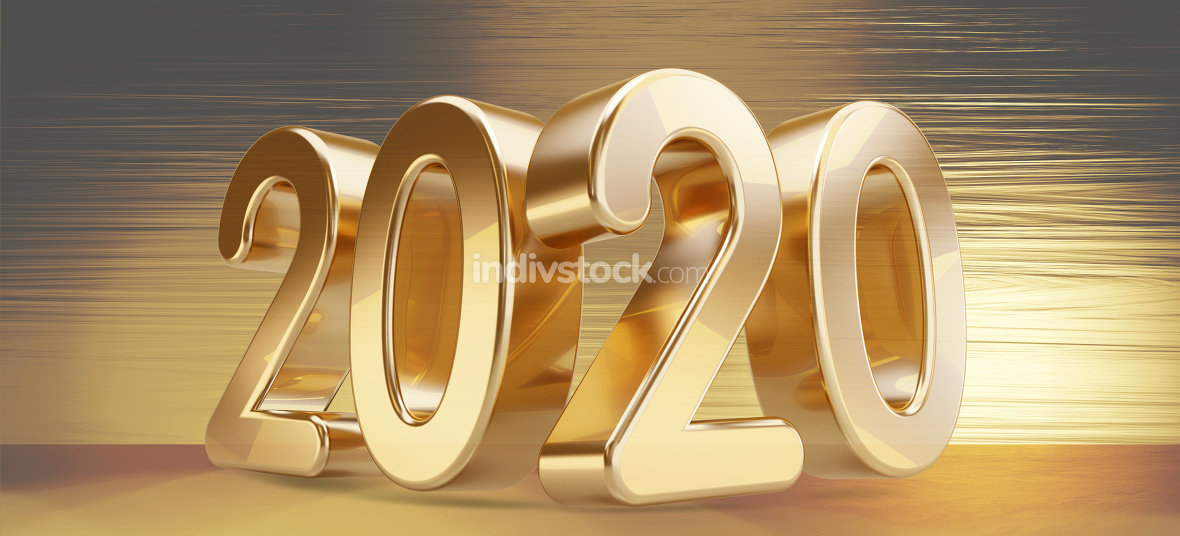 free download: 2020 bold golden letters background 3d-illustration