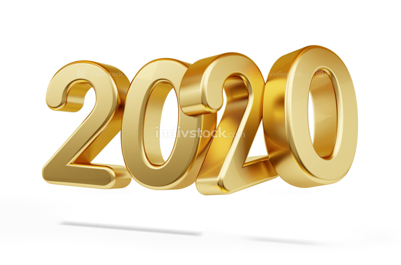 free download: 2020 golden bold letters isolated on white 3d-illustration