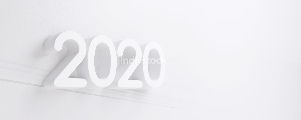 free download: 2020 white bold letters 3d-illustration background