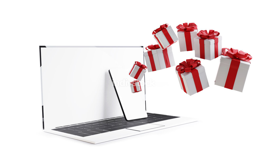 free download: christmas presents online computer isolated on white 3d-illustra