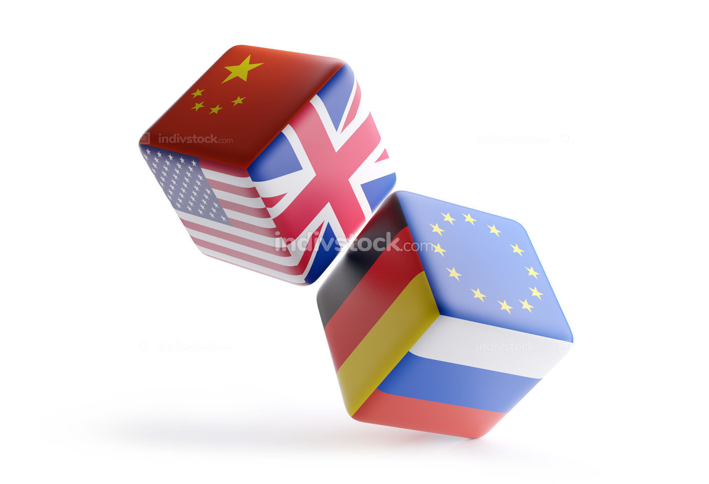 free download: dice China Europe USA UK Germany Russia 3d-illustration