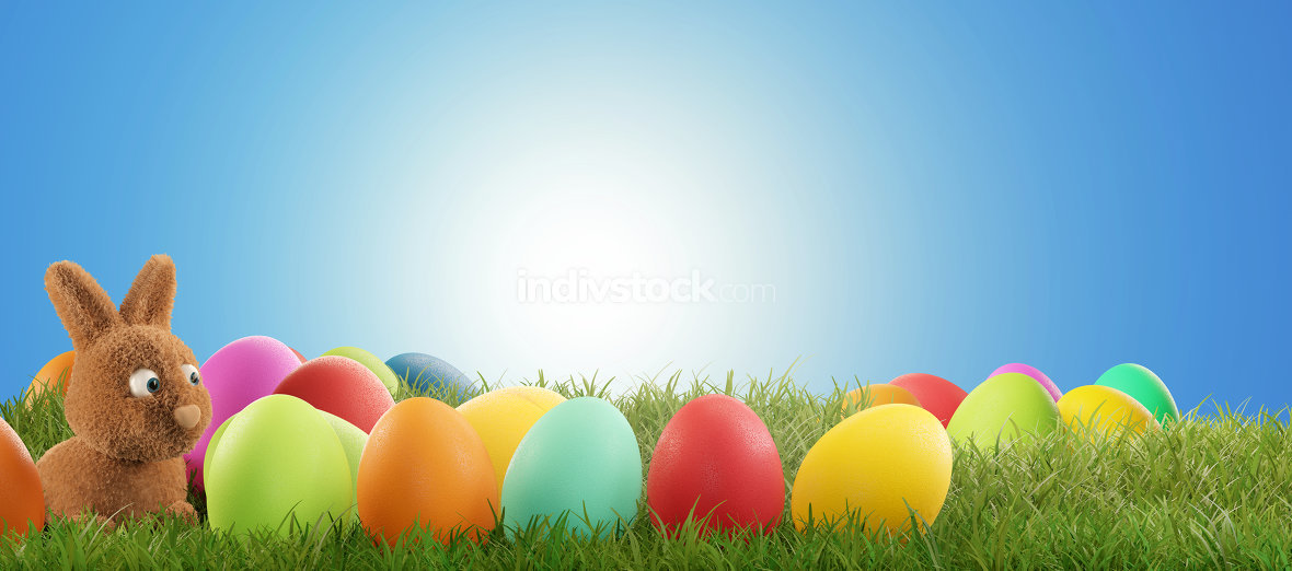 free download: Easter eggs with Easter bunny 3d-illustration