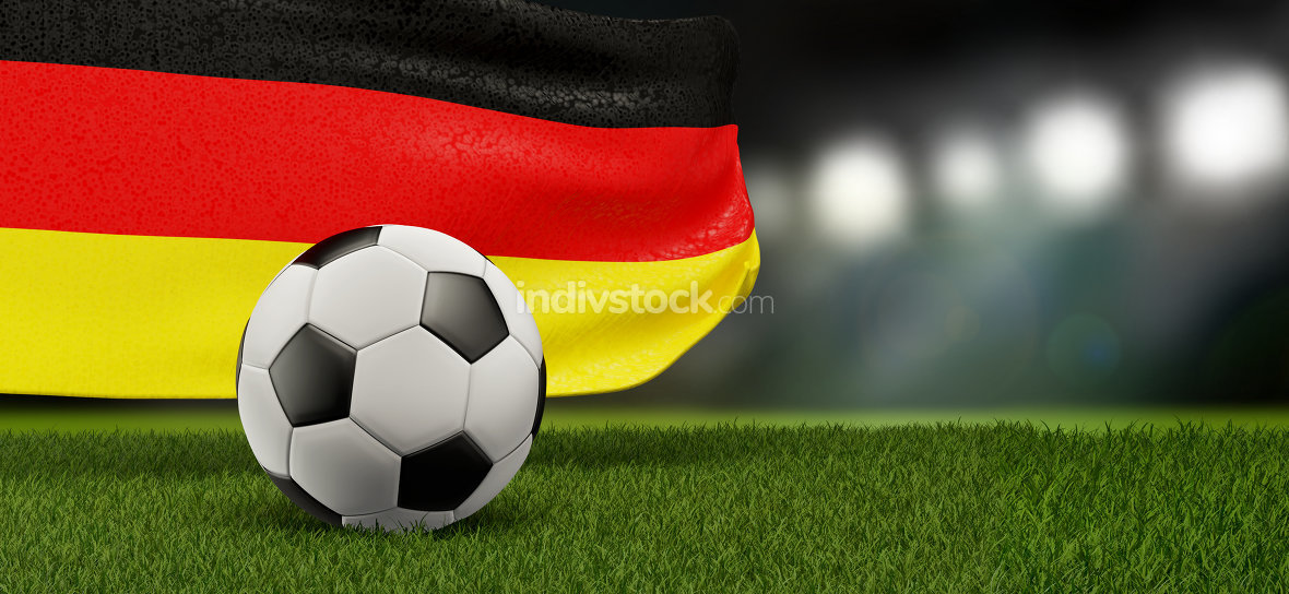 free download: flag of Germany with soccer ball 3d-illustration
