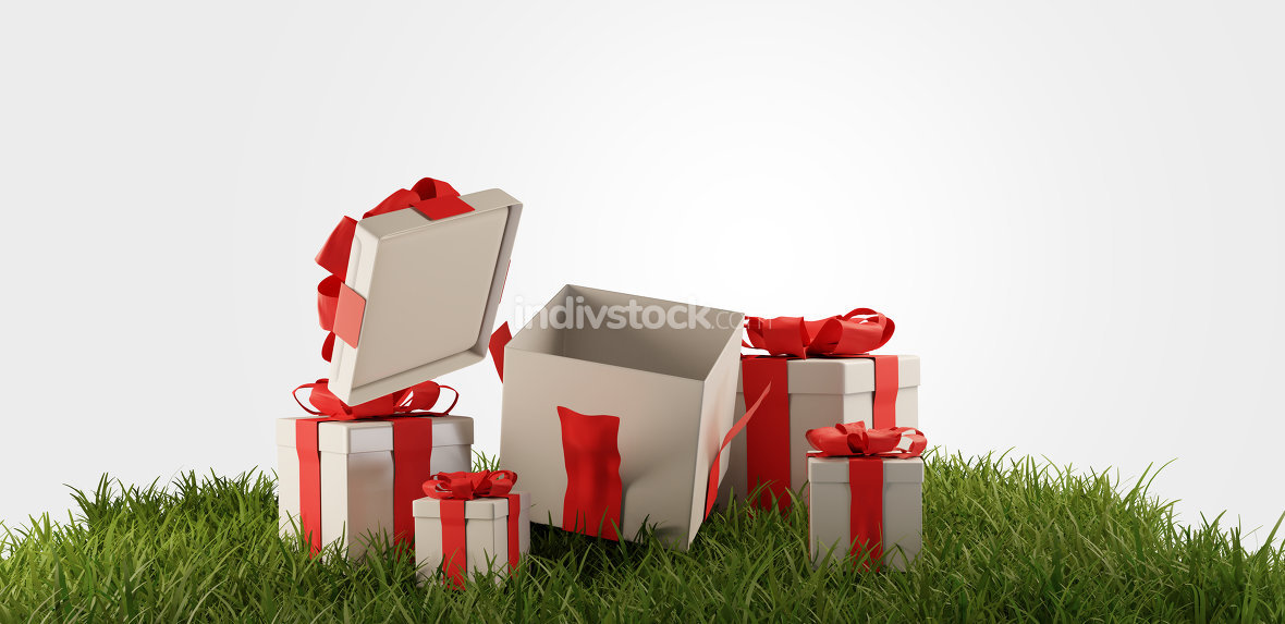 free download: presents. gift boxes with one open box 3d-illustration