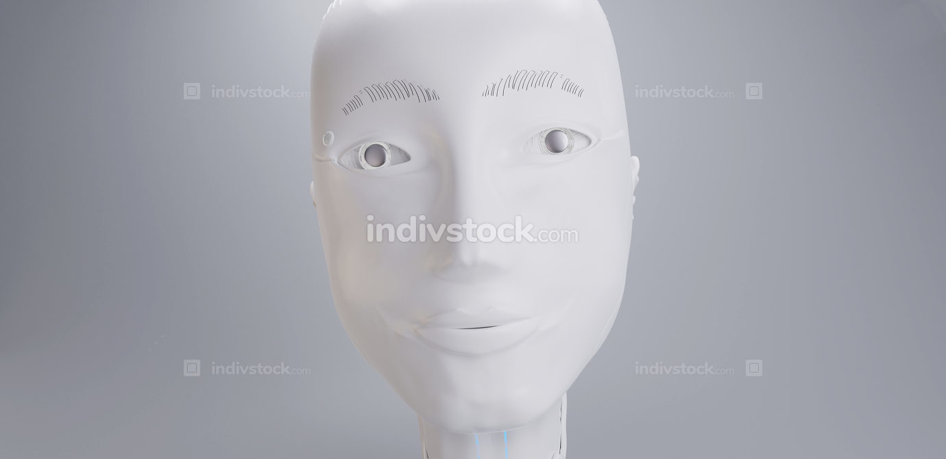 free download: robot white head face A.I. 3d-illustration